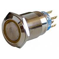 Кнопка металлическая с подсветкой и фиксацией (2НО+2НЗ) 220В желтая TYJ19-372, АСКО-УКРЕМ, A0140010121