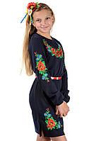 Подростковое платье-вышиванка (темно-синие), фото 1