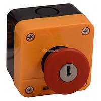 Пост кнопочный одноместный «СТОП» грибок с фиксацией (возврат ключом) XAL-J184, АСКО-УКРЕМ, A0140020043