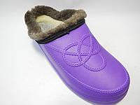 Женские галоши с мехом . Сабо фиолет