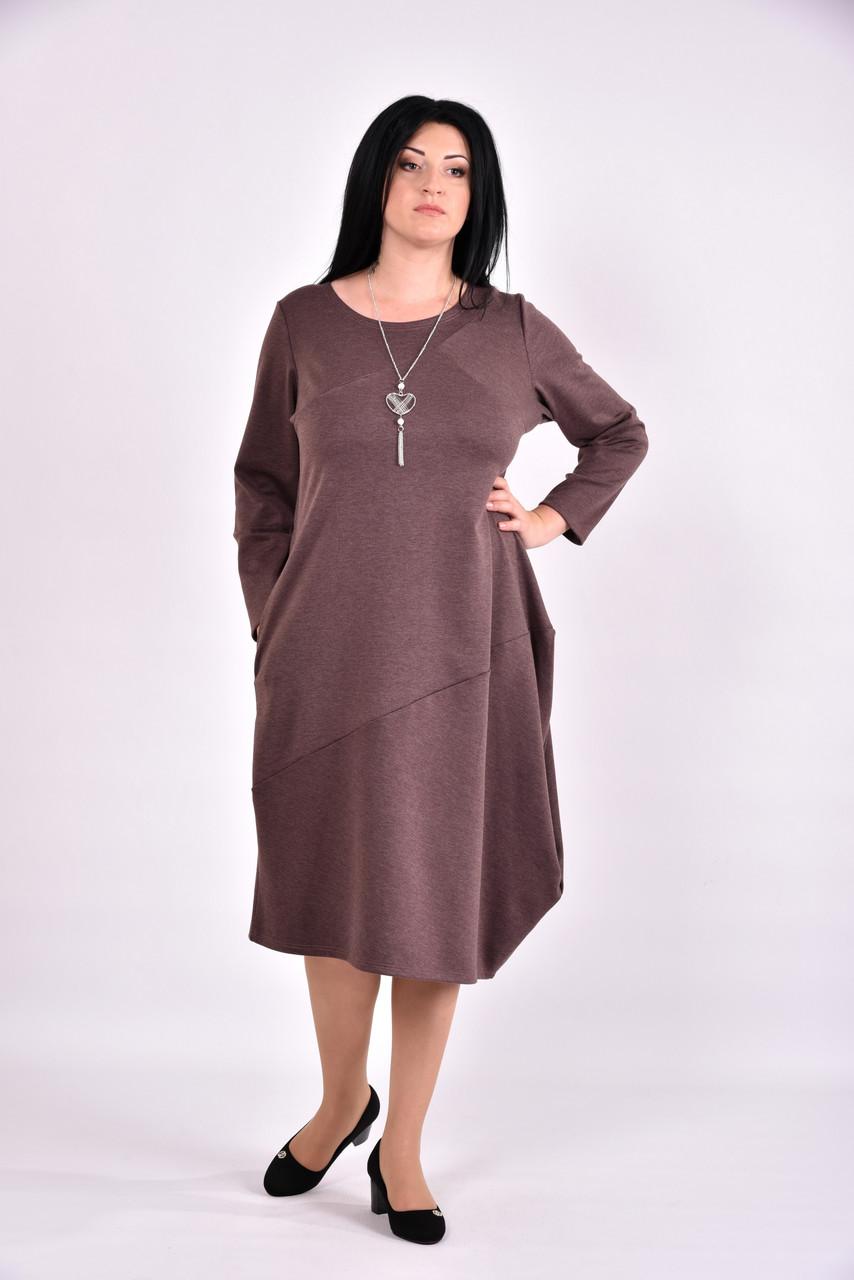 Коричневое трикотажное платье   0582-1