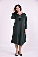 Модное зеленое платье ниже колена | 0582-2
