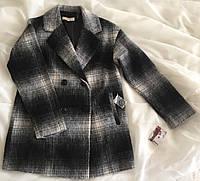 Пальто шерстяное серое (XS) стильное и уютное с карманами