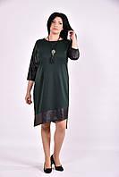 Модное зеленое платье из трикотажа | 0588-2