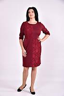 Бордовое платье с гипюровыми вставками | 0593-2