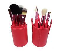Набор кистей для макияжа12 шт в турбусе коралловые c логотипом, фото 1