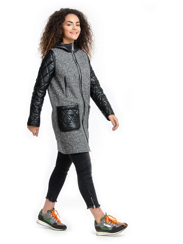 Женское пальто с кожаными рукавами, твид - Интернет-магазин