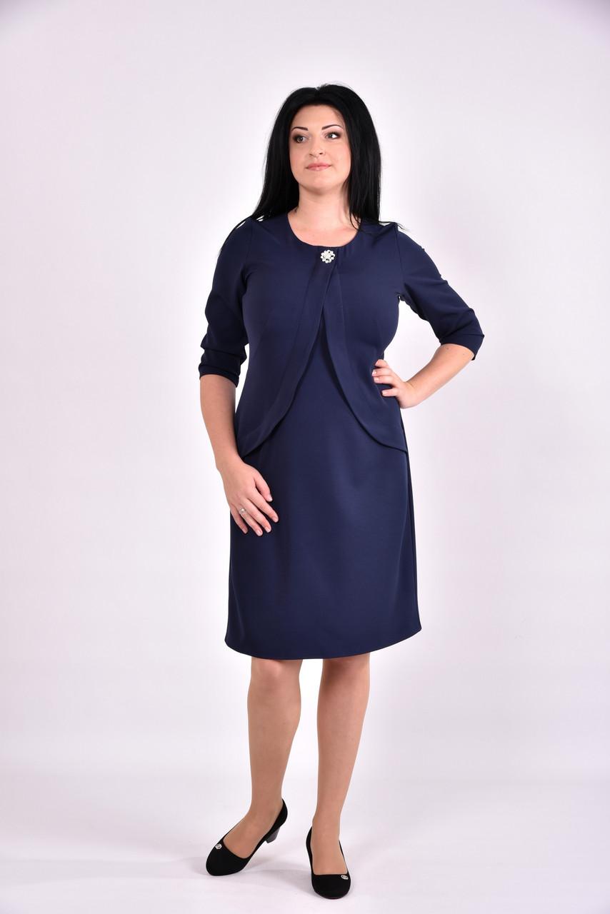 Темно-синее платье из костюмки   0597-2