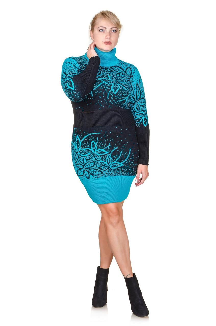 Вязаное платье размер плюс Maya бирюза (50-56)