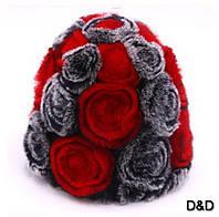 Шапка вязанная натуральный мех кролика с розами