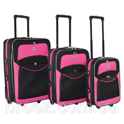 Чемодан Bonro Best набор 3 штуки черно-розовый