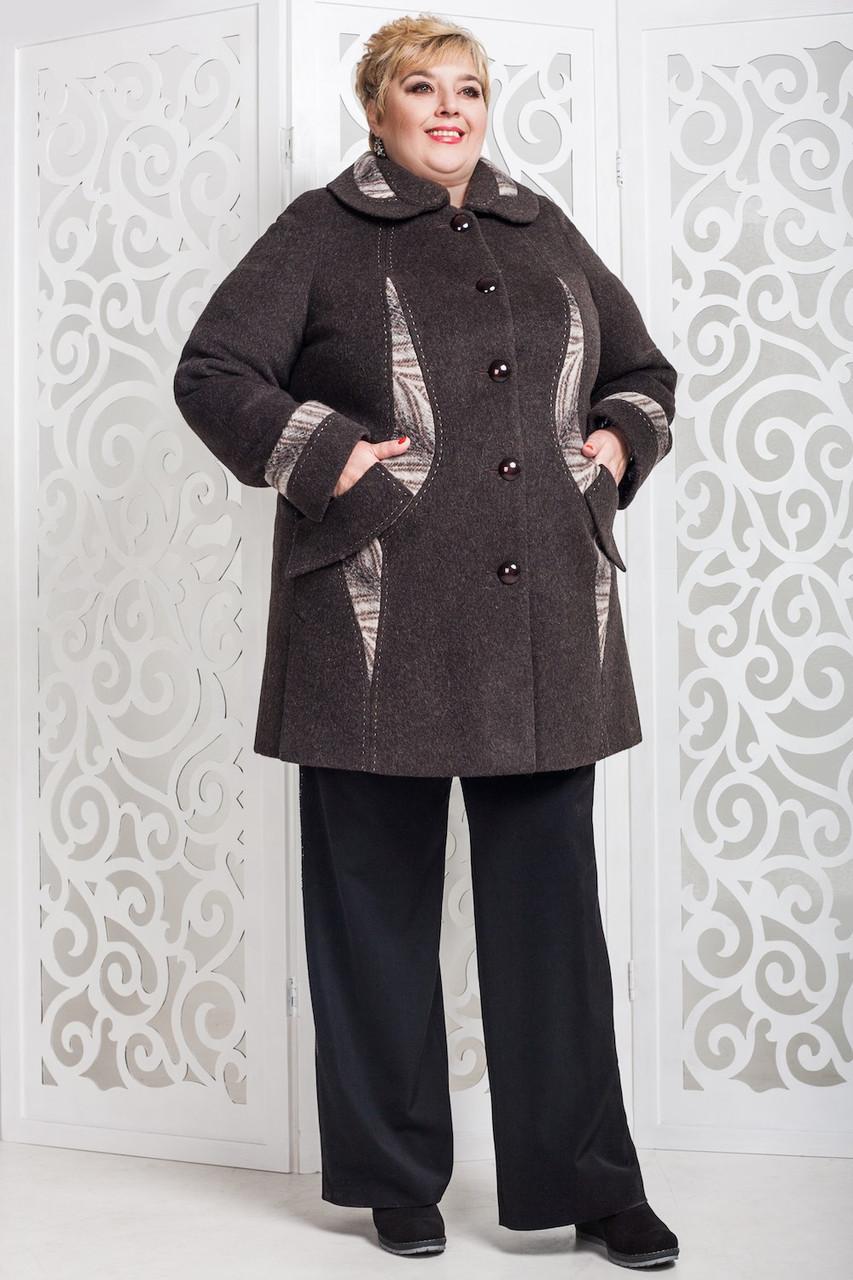 9337074b8ffe Женское демисезонное пальто больших размеров В-587 - Интернет-магазин