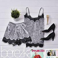 Бархатный женский комплект с шортами для сна и дома