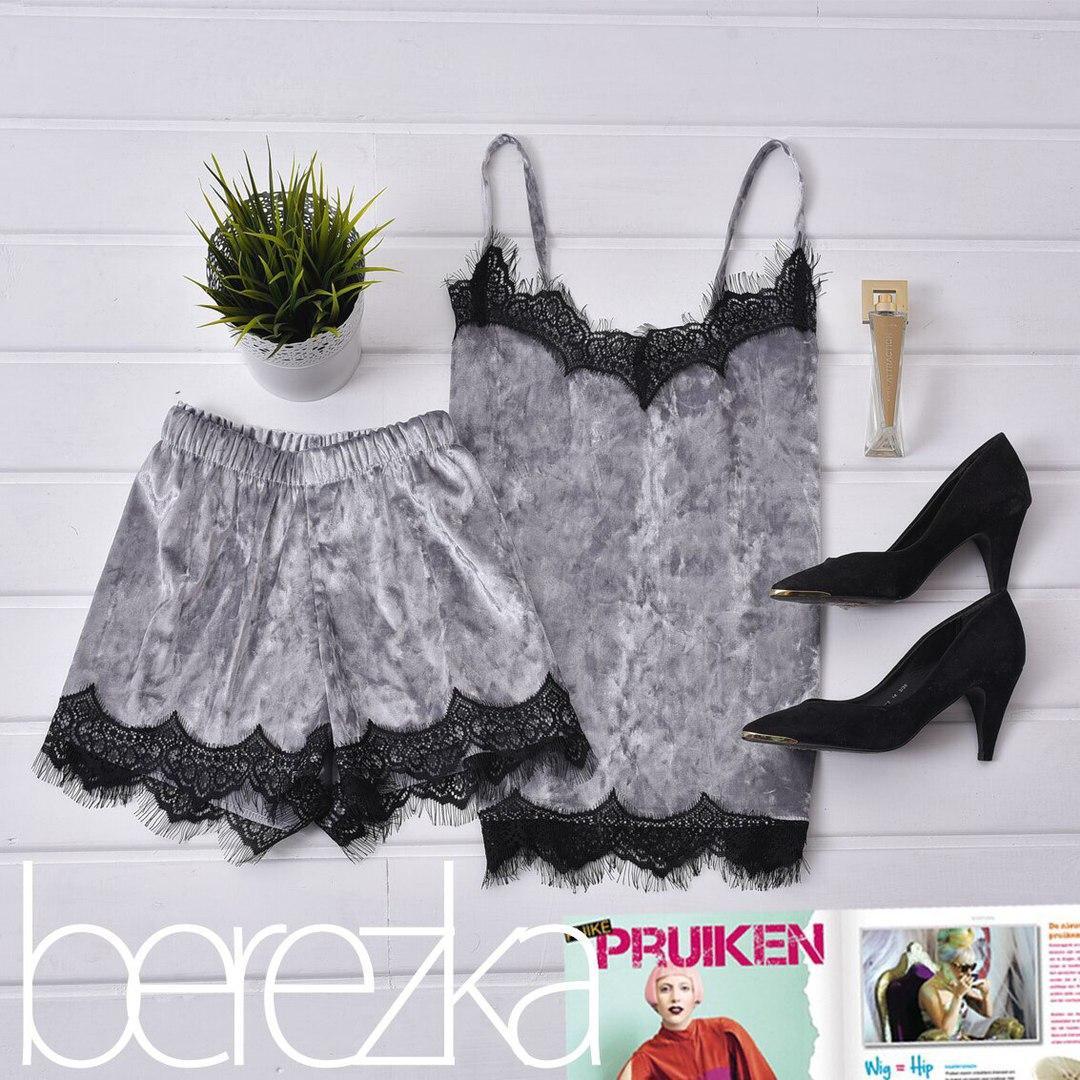 Бархатный женский комплект с шортами для сна и дома - Styleopt.com в Харькове