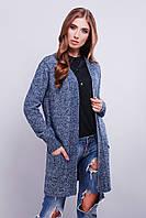 Женский вязаный кардиган с карманами из мягкой меланжевой пряжи светло-синего цвета