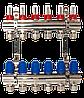 """ASCO 1""""х3/4""""х 6 выходов коллекторная группа с расходомерами никель"""