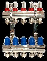 """ASCO 1""""х3/4""""х 5 выходов коллекторная группа с расходомерами никель"""
