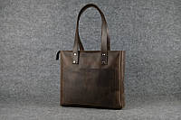 Женская кожаная сумка Shopper | Винтажный Кофе, фото 1