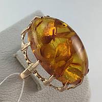 Кольцо с янтарем золотое 583 пробы СССР