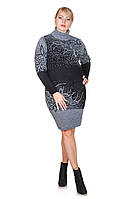 Теплое платье вязка большой размер Maya черный/серый (50-56)