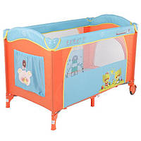 Манеж-кровать с пеленатором и дугой Quatro Lulu 2 p610bh №4 оранжевый-голубой