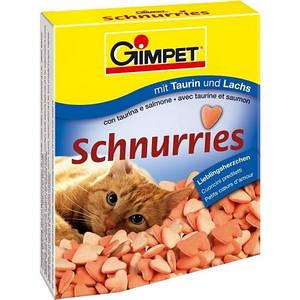 Джимпет (Gimpet) Schnurries вітаміни-сердечка для кішок з таурином і лососем (650 шт) 420г