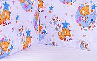 Постель Qvatro Защита на стеночки в кроватке Голубой (мишка в руке звезда, пчелки)