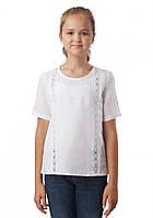 Кружевная белая блузка 100% лен (в размере 134 - 158)