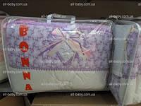 Комплект белья в детскую кроватку для новорожденных«BONNA LUX» сиреневый