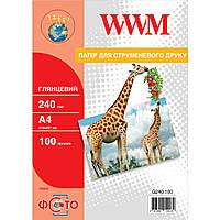 Фотобумага High White WWM глянцевая 240г/м кв, A4, 100л (G240.100)