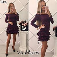 Модное сливовое платье с юбкой с рюшами и регулировкой длинны