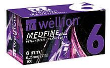 Иглы Wellion для инсулиновых шприц-ручек 6мм №100