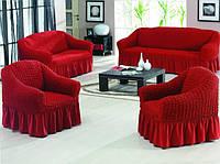 Чехол на 3-х местный диван + 2 кресла ESV Home винно-красный
