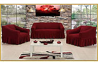 Чехол на 3-х местный диван + 2 кресла ESV Home бордовый