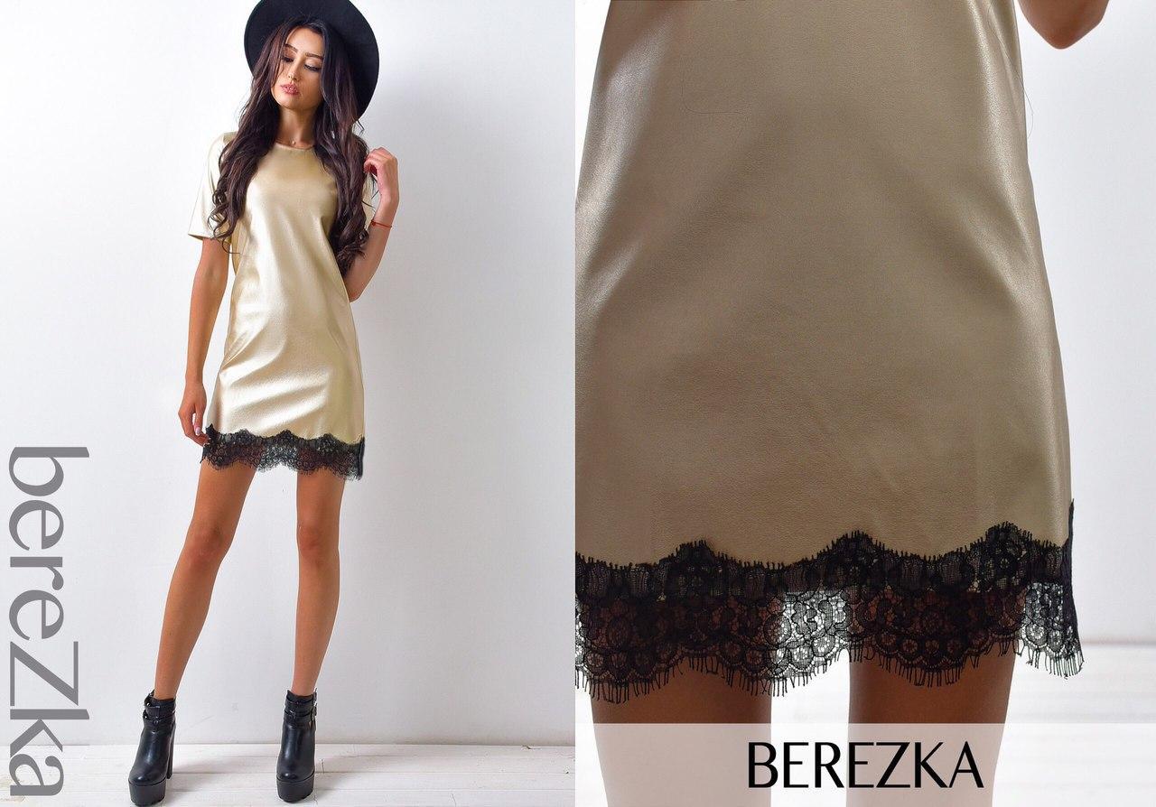 73c1db3c85d Женское платье из экокожи и отделкой из французского кружева Ксюша ...
