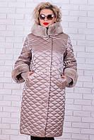 Snow beauty пуховики женские больших размеров с мехом  №1773