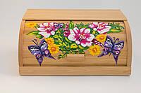 """Деревянная хлебница """"Цветы с бабочками"""""""