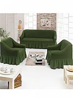 АКЦИЯ!!!Чехол натяжной на диван + 2 кресла ESV Home кленовый зеленый