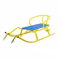 Санки детские и взрослых металические со спинкой «Спорт F1 Патриот» желтыел