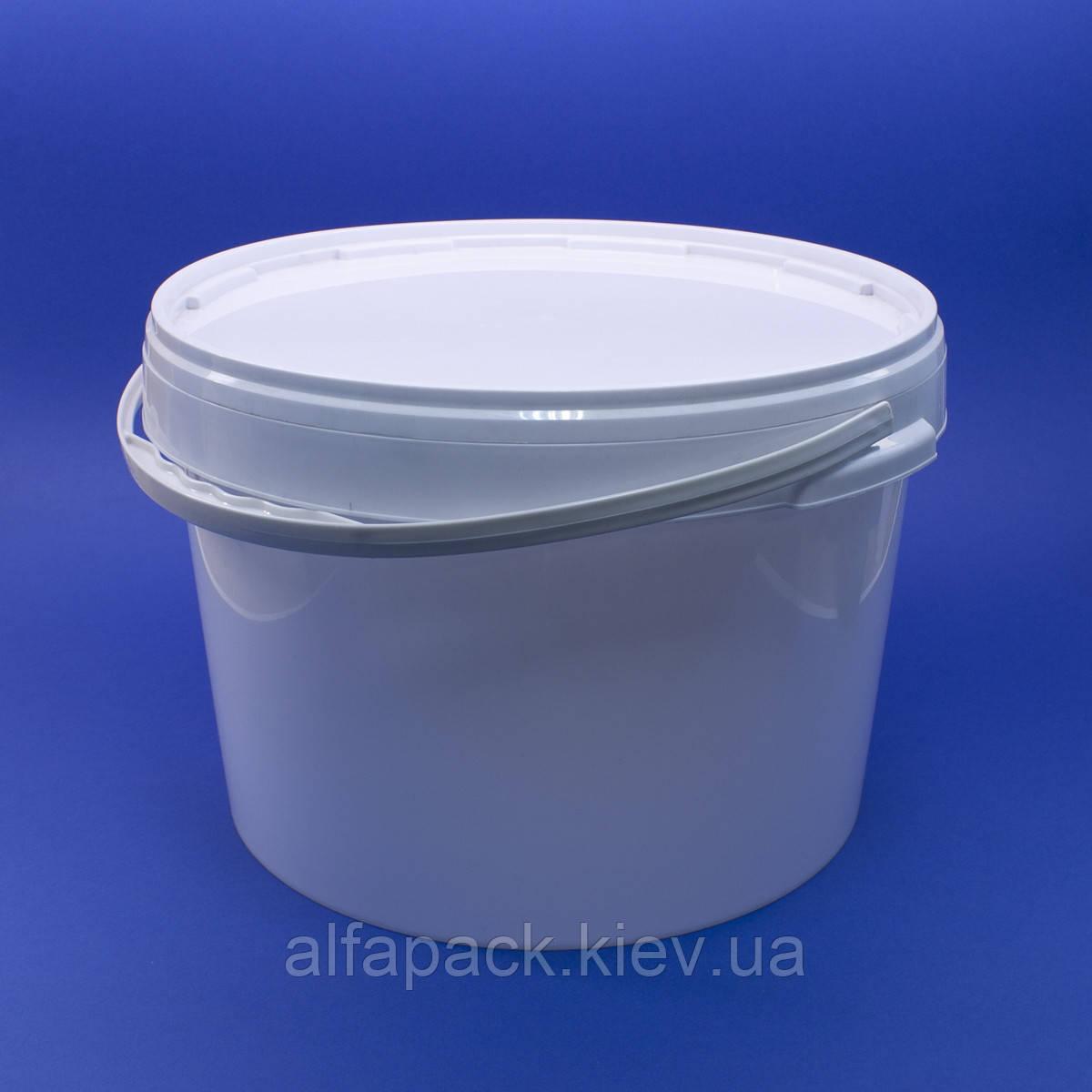 Ведро пластиковое белое 15,7 л
