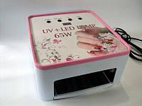 Лампа для геля и гель лака, маникюра и наращивания ногтей, полимеризации геля и гель лака UV+LED 65w Simei