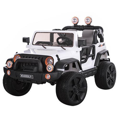 Детский электромобиль Джип Wrangler 3469 EBLR - 1 белый, кожа, амортизаторы, двери, капот, EVA, пульт 2.4G