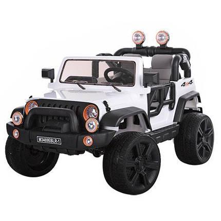 Детский электромобиль Джип Wrangler 3469 EBLR - 1 белый, кожа, амортизаторы, двери, капот, EVA, пульт 2.4G, фото 2
