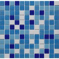 Мозаика стеклянная бело- голубая GLmix1