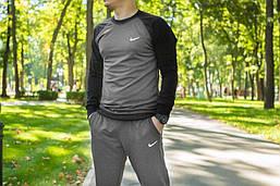 Мужской спортивный костюм Nike, костюм весенний, осенний, черный+серый