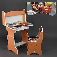 Парта пенал Тачки ЛДСП 69*45 см цвет оранжевый, 1 стул (ОП 016)