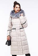 Женское зимнее пальто Амина с мехом чернобурки