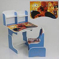 Парта школьная Паук ЛДСП 69*45 см цвет голубой, 1 стул (ПШ 022)