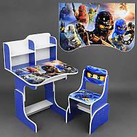 Парта школьная Ниндзяго ЛДСП 69*45 см цвет синий, 1 стул (ПШ 024)