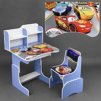 Парта школьная Тачки ЛДСП 69*45 см цвет голубой, 1 стул (ПШ 025)